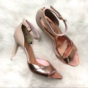 Ted Baker rose gold strappy ankle heels size 9.5